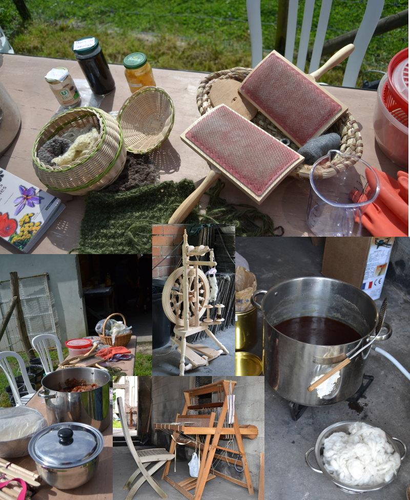 Cardes, bassines, mixtures, teintures, laines, rouet, métier à tisser...