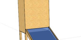 Ebauche du plan du séchoir solaire : la partie vitrée devant capte les rayons du soleil qui chauffe une plaque metallique peinte en noir. L'air rentre par le bas et est chauffé au passage le long de la plaque métallique puis remonte à l'intérieur du séchoir à travers les claies où sont disposés les plantes à sécher, pour être évacué par le haut